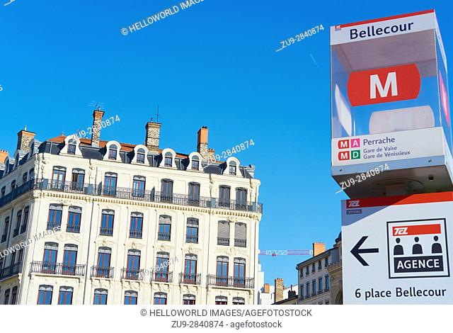 Metro sign and architecture, La Place Bellecour, Lyon, Auvergne-Rhone-Alpes, France, Europe. . A UNESCO world heritage site at the heart of Presqu'ile...