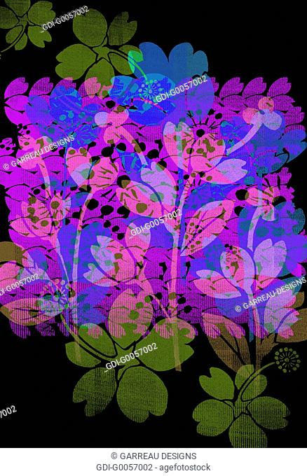 Colorful flower design layered over black background