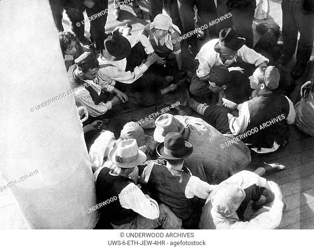 South America: c. 1930.European Jews aboard a liner as they emigrate to South America after the United States placed restrictions on immigration