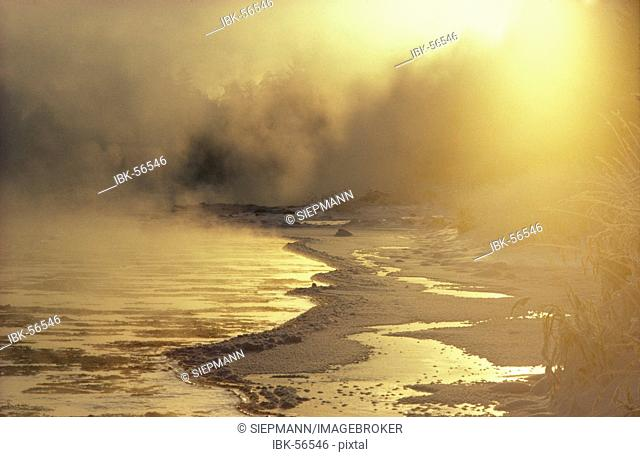Isar river with ice Bavaria Germany winter morning