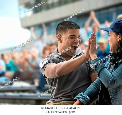 Couple high-fiving at sports game