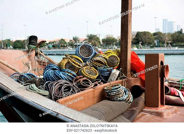 Old fishing boat with nets