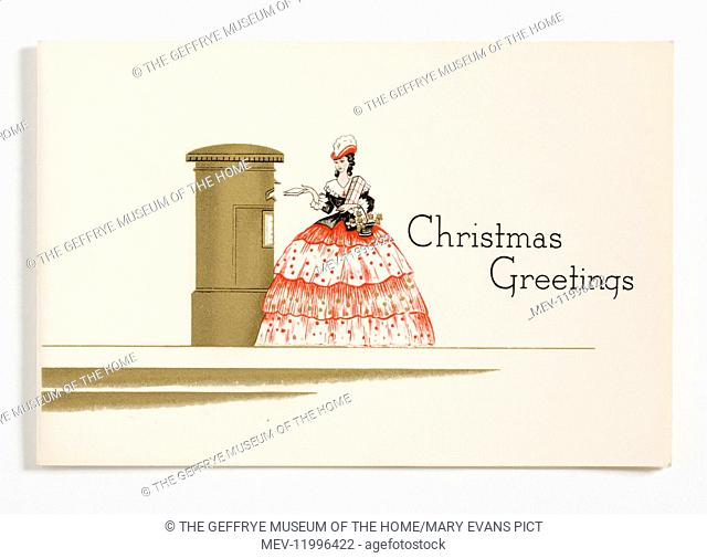 One of two identical unused Christmas cards printed with a design of a lady wearing a red, black and grey crinoline dress posting a letter in a gold letterbox