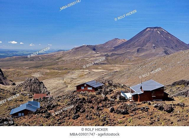New Zealand, north-island, Mount Ruapehu, Whakapapa Skifield, view, Mount Ngauruhoe, alms, Tongariro National park, national-park, reservation, mountains