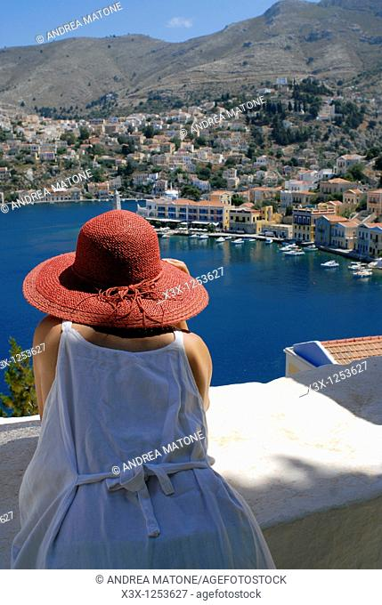 Looking at the island town of Symi Greece