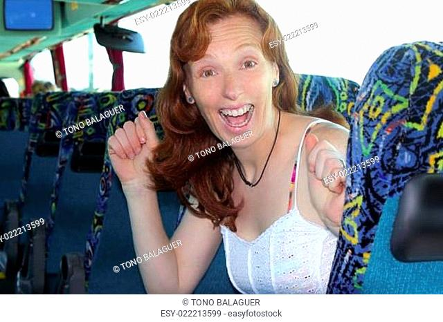 happy woman tourist traveling bus indoor