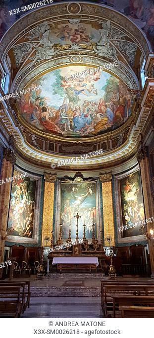 Interior view. Basilica Madonna del Miracolo Church S. Andrea delle Fratt, Rome, Italy
