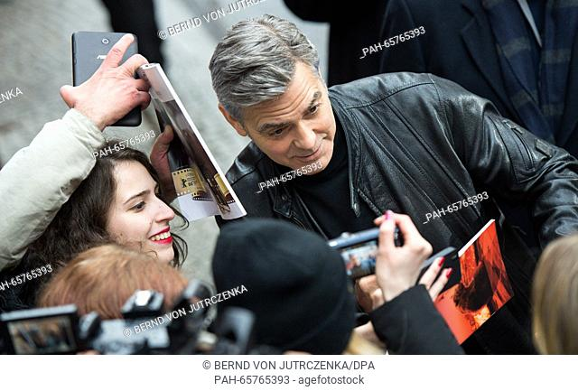 66th International Film Festival in Berlin, Germany, 11 February 2016. Photo call -Hail Ceasar!-: George Clooney arrives
