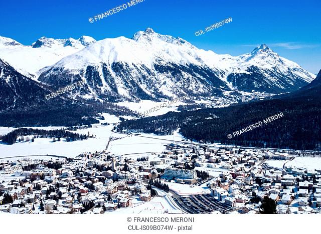 Celerina in snow covered mountain valley, Engadin, Switzerland