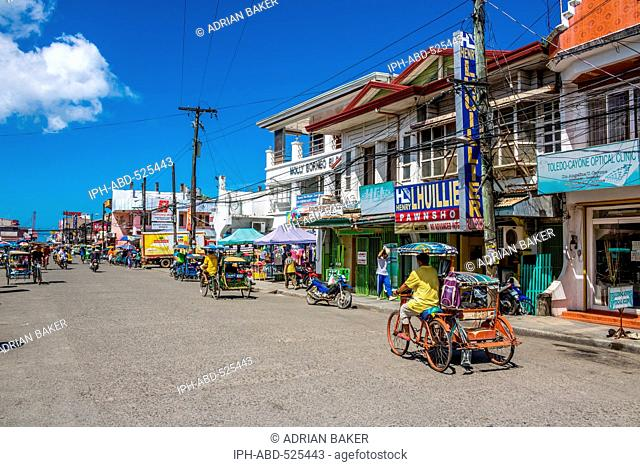 Philippines. Leyte. Baybay. One of the busy streets of the small port of Baybay