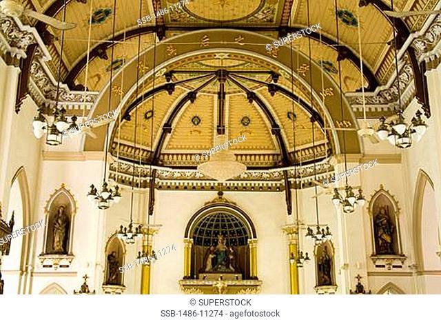 Interiors of a church, Holy Rosary Church, Bang Rak, Bangkok, Thailand