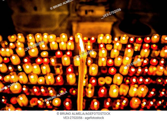 Candles in a Carcassonne church, France