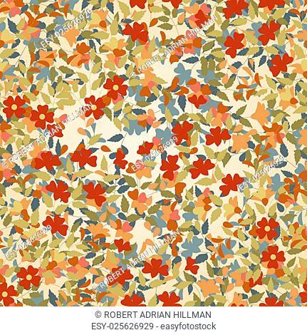 Editable vector seamless tile of flowering plants
