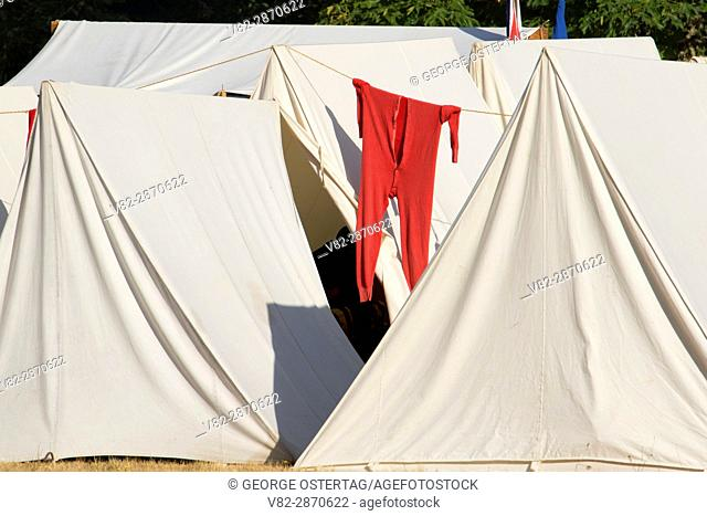 Long johns on tent, Civil War Re-enactment, Willamette Mission State Park, Oregon