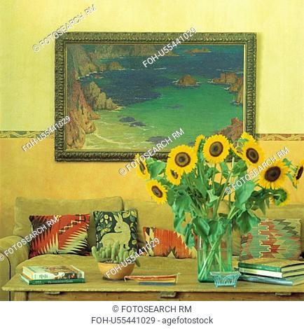 Framed Picture with Sunflowers