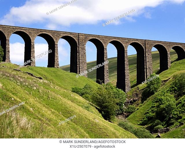 Artengill Viaduct from Dentdale Yorkshire Dales Cumbria England