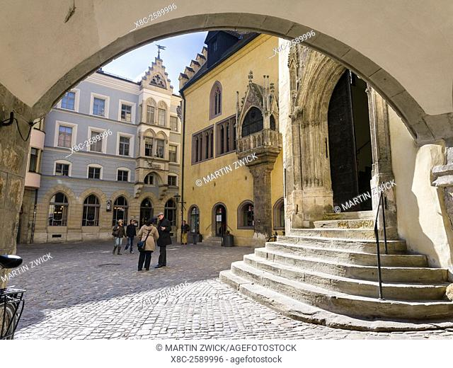 Regensburg in Bavaria, the Old Town is listed as UNESCO World Heritage. The medieval old town, the old town hall . Europe, Central Europe, Germany, Bavaria