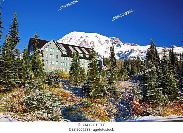 Fresh Snow On Autumn Colours Add Beauty To Mt. Rainier, Washington United States Of America