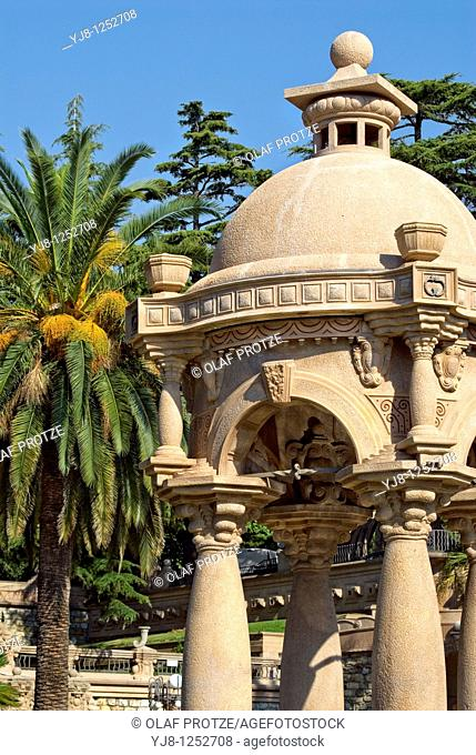 Architectural Detail in the Park of the Villa Grock in Imperia, Liguria, Italy
