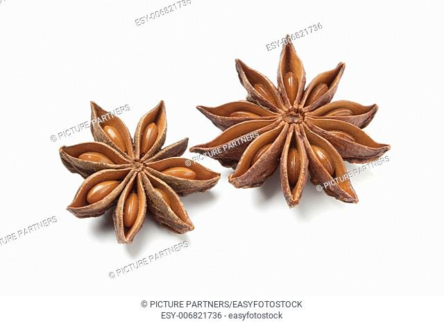 Star anise seed on white background