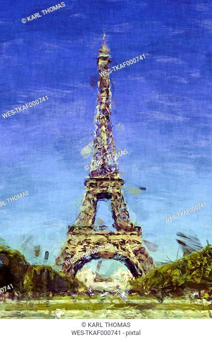 France, Paris, Eiffel Tower, digitally manipulated