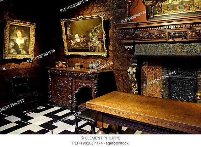 Dining room in the Rubenshuis / Rubens' House museum, former home and studio of Peter Paul Rubens (1577–1640) in Antwerp, Flanders, Belgium