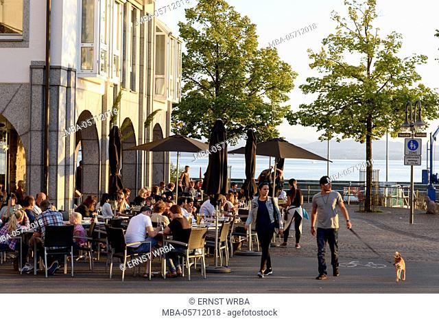 Café in the lakeside promenade Seestrasse, Friedrichshafen, Lake of Constance, Baden-Wurttemberg, Germany