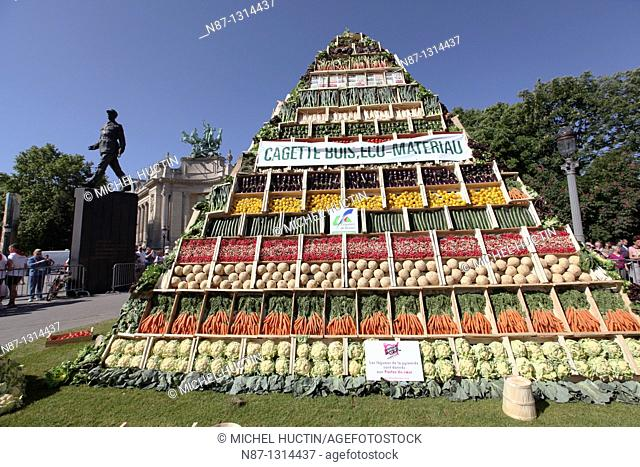 a pyramid of vegetables has been erected down the Champs Elysees during the transformation of the avenue into a huge garden May 23, 2010