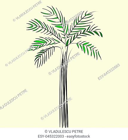 a green palm on a beige background