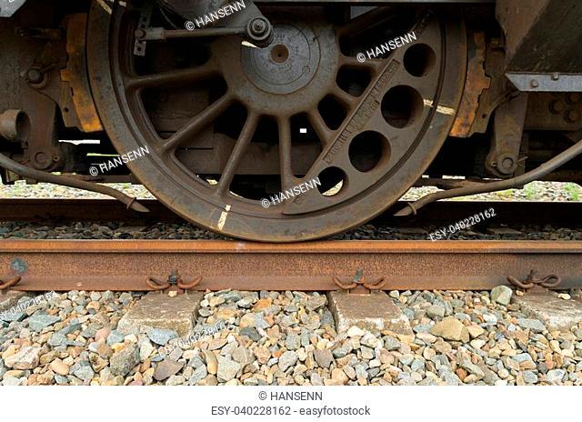 closeup of a train wheel
