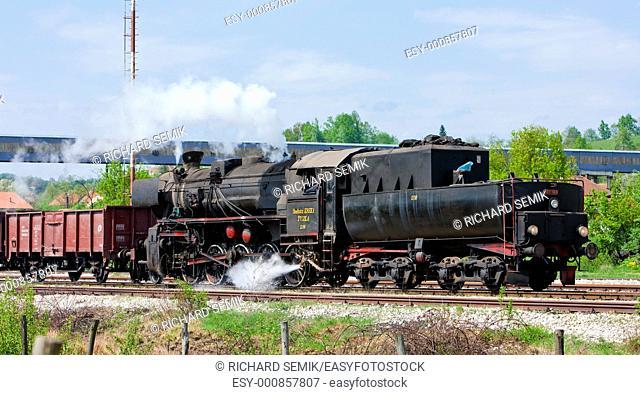 steam freight train in Tuzla region, Bosnia and Hercegovina
