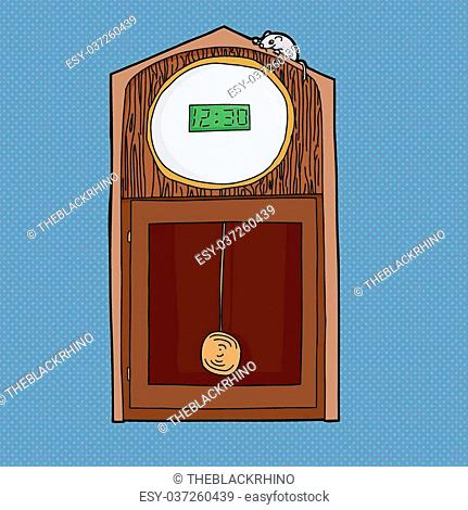 Grandfather clock with digital LCD face and mouse on top