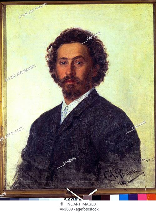 Self-portrait. Repin, Ilya Yefimovich (1844-1930). Oil on canvas. Russian Painting of 19th cen. . 1887. State Tretyakov Gallery, Moscow. 75x62,2