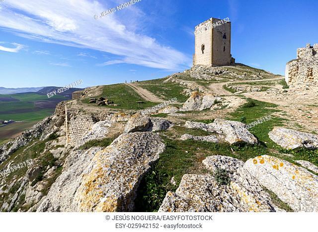 Castle of the Estrella (Hisn Atiba) of Teba, Malaga. Spain