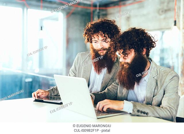 Male hipster twins working on laptop at office desk