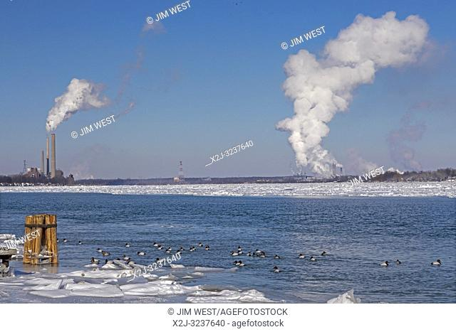 Marine City, Michigan - Coal-fired power plants and chemical plants line the ice-filled St. Clair River. Canvasback ducks swim in the open water near shore