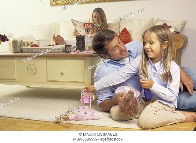 living room, father, daughter