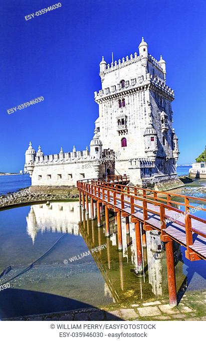Belem Tower Torre de Belem Portuguese Symbol of Exploration Lisbon Portugal. Belem Tower was constructed in early 1500s on Tagus River and last point Portguese...
