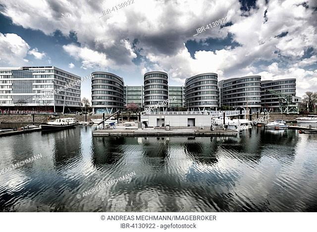 Five Boats office buildings, Inner Harbour, Duisburg, Ruhr district, North Rhine-Westphalia, Germany