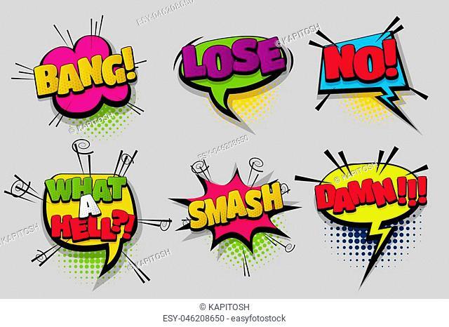 Lose bang no DAMN pop set hand drawn pictures effects template comics speech bubble halftone dot background pop art style. Comic dialog cloud
