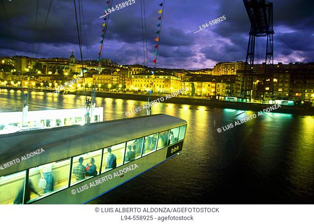 Suspension bridge. Bilbao estuary. Portugalete. Bizkaia. Euskadi. Spain
