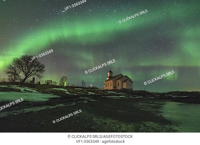 Church under the northern lights. Gymsoysand, Nordland county, Northern Norway, Norway
