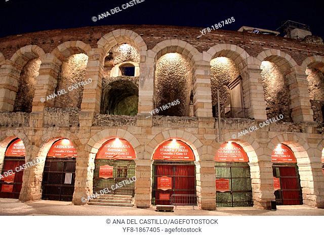 VERONA,ITALY-CIRCA JUNE 2012:Arena theater at night in Verona, Italy, famous UNESCO World Heritage site, circa June 2012 in Verona, Italy