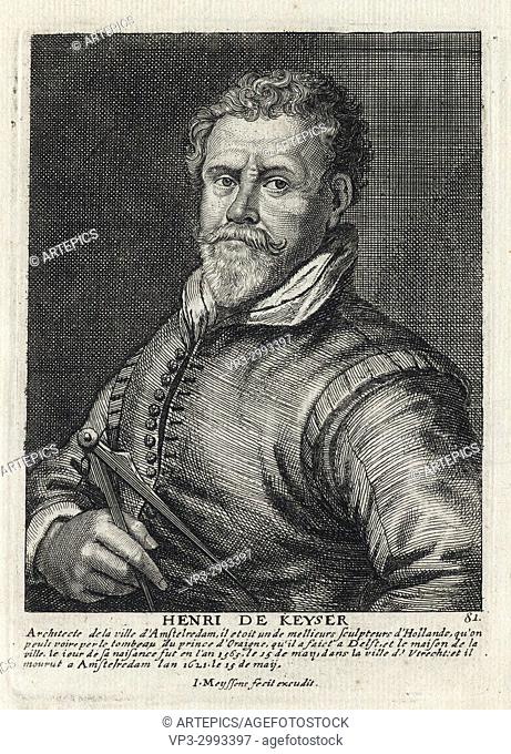 HENRI DE KEYSER - Woodcut portrait and short biography (old french language) - Engraving 17th century
