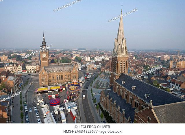 France, Nord, Armentieres, Belfry of the City Hall listed as World Heritage by UNESCO and Church of St. Vaast (aerial view)