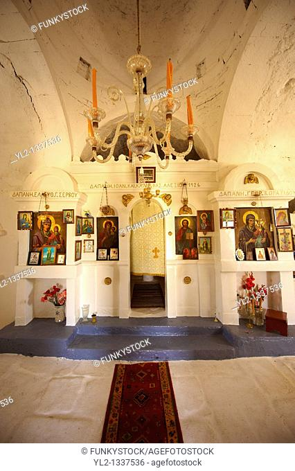 Interior of the the 17th Century Byzantine Greek Orthodox Monastery of Agia Anna  St Anne 17th Century