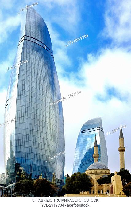 Flame towers and Shahids Mosque, Baku, Azerbaijan