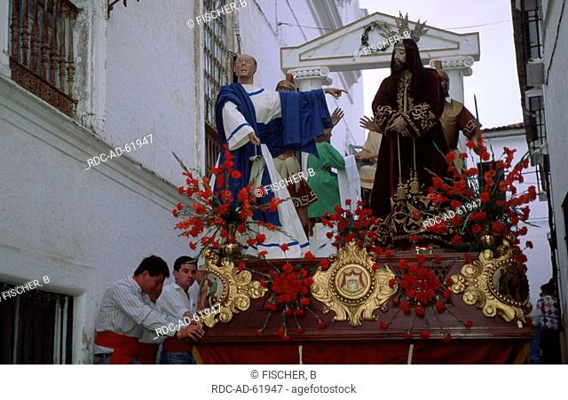 Statue of saint on Easter procession Jerez de los Caballeros Estremadura Spain