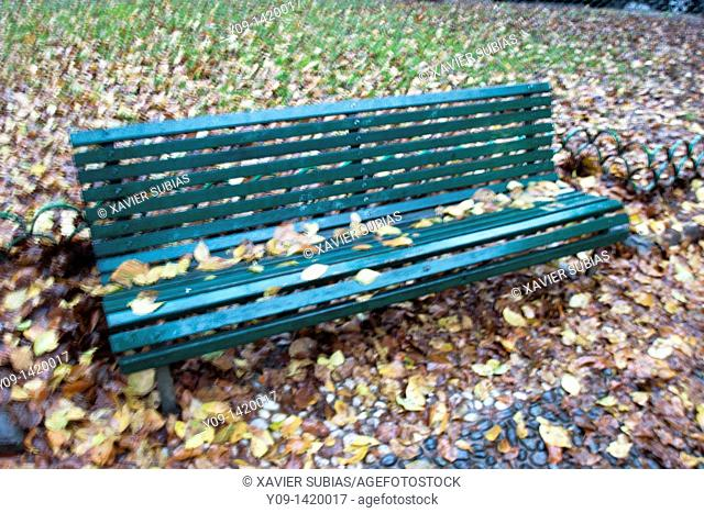 Park bench, Milan, Lombardy, Italy