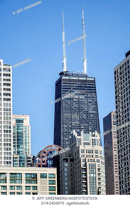 Illinois, Chicago, River North, John Hancock Center, skyscraper, skyline, building, tower, structural expressionism, architecture, Fazlur Kahn, engineer